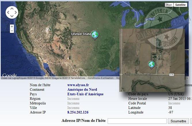 Google Map situe le site de l'Élysée... dans une ferme du Kansas :)